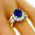 Estate 3.46ct Oval Cut Sapphire 1.83ct Round And Baguette Cut Diamond 18k Yellow Gold Ring