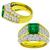 Estate GIA Certified 1.64ct Octagonal Step Cut Zambian Emerald 3.64ct Round Diamond 18k Yellow Gold Ring