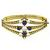 Estate 1960s 1.60ct Round Cut Sapphire 0.25ct Round Cut Diamond Pearl 14k Yellow Gold Bangle