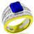 JB Star 4.00ct Emerald Cut Ceylon Sapphire 3.00ct Princess And Baguette Cut Diamond Platinum 18k Yellow Gold Ring
