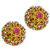 1.50ct Round And 3.20ct Pear Shape Ruby 1.30ct Round Brilliant Diamond 14k Yellow Gold Shield Earrings
