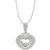 Estate 2.5ct Round and Baguette  Cut Floating  Diamond  18k White Gold Heart Pendant