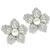 Estate Pearl 2.09ct Round Cut Diamond 18k White Gold Flower Earrings
