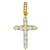Estate 3.30ct Round Brilliant Diamond 14k Yellow Gold Cross Pendant