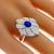 Estate 1.30ct Oval Cut Sapphire 1.00ct Round Brilliant Diamond 18k White Gold Floral Ring