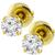 Estate 0.80ct Round Brilliant Diamond Screw Back 14k Yellow Gold Stud Earrings