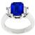 Estate 3.28ct Emerald Cut Ceylon Sapphire 0.50ct Emerald Cut Diamond Platinum Engagement Ring