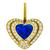 Estate GIA Certified 6.55ct Ceylon Sapphire 3.25ct Round Brilliant Diamond 18k Yellow Gold Heart Pin/Pendant