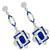 Art Deco Style 4.16ct Cushion Cut Center And 1.49ct  French Faceted Sapphire 1.76ct Round Cut Diamond 18k White Gold Chandelier Earrings