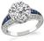 Art Deco 3.04ct Diamond Sapphire Engagement Ring