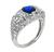 Art Deco Style Cushion Cut Ceylon Sapphire Round Cut Diamond Platinum Anniversary Ring