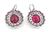 14k White Gold Rubellite Diamond Earrings