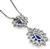 18k White Gold Diamond Sapphire Pendant Necklace