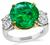 Estate 6.54ct Emerald GIA Certified 1.56ct Diamond Anniversary Ring
