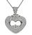 Round and Baguette Cut Diamond 18k White Gold Heart Pendant