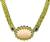 Round Cut Diamond Oval and Cabochon Cut Sapphire Carved Coral 18k Yellow Gold Necklace