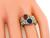 Cushion Sapphire Cabochon Ruby Round Cut Diamond Two Tone 18k Yellow and White Gold Ring