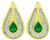 Pear Shape Emerald Baguette Cut Diamond 18k Yellow Gold Earrings