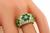 Round Cut Diamond Round Cut Colombian Emerald 18k Yellow Gold Ring