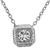 Art Deco Style Round Brilliant Cut Diamond 14k White Gold Pendant Necklace