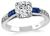 Estate GIA Certified 1.14ct Diamond Sapphire Engagement Ring