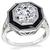 Vintage GIA Certified 1.51ct Diamond Onyx Engagement Ring