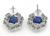 Oval Cut Ceylon Sapphire Round Cut Diamond Platinum Earrings