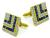 Square Cut Sapphire Round Cut Diamond 18k Yellow Gold Cufflinks