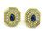 Cabochon Sapphire Round Cut Diamond 18k Yellow Gold Necklace and Earrings Set