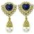 Heart Shape Sapphire Round Cut Diamond Pearl 18k Yellow Gold Earrings and Necklace Set