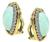 1960s Turquoise Round Cut Diamond 14k Yellow and White Gold Earrings by Hammerman Brothers