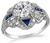 Art Deco 1.26ct Diamond Sapphire Engagement Ring