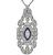 Vintage marquise and Round Cut Diamond Sapphire Platinum Pendant / Pin