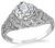 Art Deco GIA Certified 1.12ct Diamond Engagement Ring