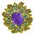 Diamond Amethyst Gold 1960s Pin