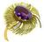 1960s Oval Cut Amethyst 18k Yellow Gold Flower Pin