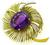 Amethyst Gold Flower Pin