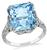 Antique 5.53ct Aquamarine 0.25ct Diamond Ring