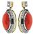 Coral Diamond Onyx Earrings