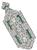 Art Deco 2.00ct Diamond Emerald Pendant / Pin