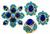 Vintage 4.50ct Diamond Lapis Turquoise Pin Earrings and Ring Set
