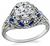 Vintage 0.85ct Diamond Sapphire Engagement Ring