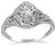 Art Deco GIA Certified 0.71ct Diamond Engagement Ring
