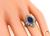 Art Deco Oval Cut Sapphire Diamond 14k White Gold Ring