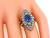 Vintage Cushion Cut Sapphire Old Mine Cut Diamond 14k Gold Engagement Ring