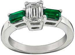 GIA Certified 0.90ct Diamond Emerald Engagement Ring Photo 1
