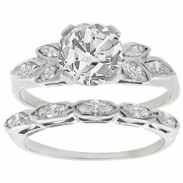 diamond 14k white gold engagement ring and wedding band set 1